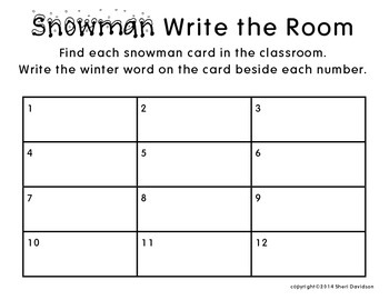 Snowman Write the Room {Winter Themed Literacy Center}