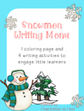 Snowman Writing Menu and Activities