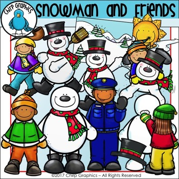 Snowman and Friends Clip Art Set - Chirp Graphics
