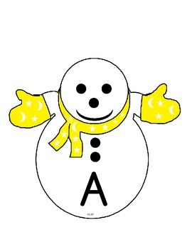 Snowman and Hats Alpahbet Matching Game