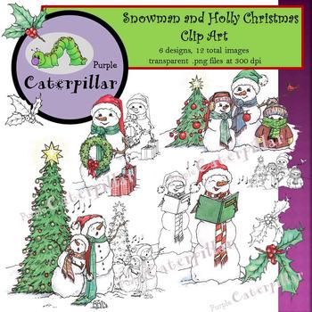 Christmas Snowman and Holly Clip Art
