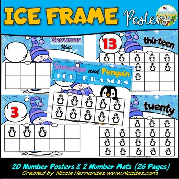 Winter Math Ice Frames - Ten Frame Cards
