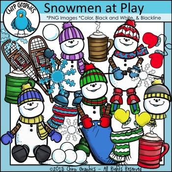 Snowmen at Play Clip Art Set - Chirp Graphics