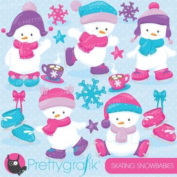 Snowman babies clipart commercial use, vector, digital - CL763
