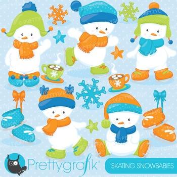 Snowman babies clipart commercial use, vector, digital - CL764