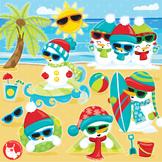 Snowman beach clipart commercial use, vector graphics, digital  - CL1043