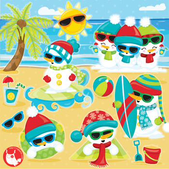 Snowman beach clipart commercial use, vector graphics, digital  - CL1043