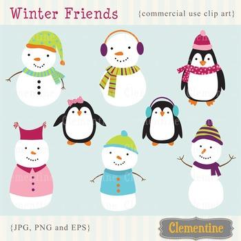 Snowman clip art - penguin clip art - winter friends