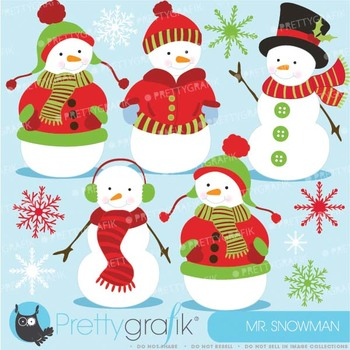Snowman clipart commercial use, vector graphics, digital clip art - CL584