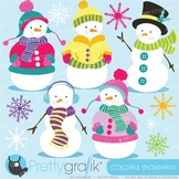 Snowman clipart commercial use, vector graphics, digital clip art - CL585
