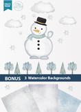 Snowman clipart, winter clipart, water color clipart, digital snowman