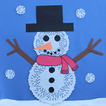 Snowman collage with paper doilies