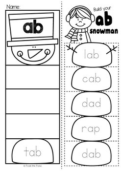 Snowman cvc Word Family Worksheets - Build It Up