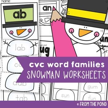 Winter cvc Activities {Snowman cvc Word Family Worksheets}