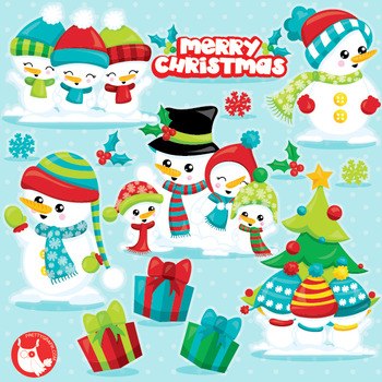 Snowman Family Clipart Commercial Use Vector Graphics Digital