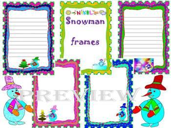 Winter Activities - Snowman - Frames - Writing paper - Clip Art