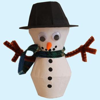 Snowman from egg carton