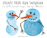 Snowman - hand painted elements to make your own snowman