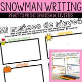 Snowman in the Seasons Writing Activity - Muneco de nieve