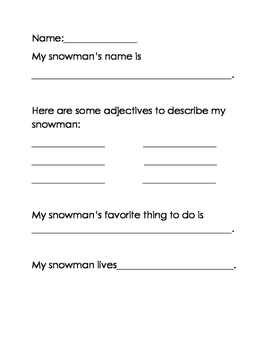 Snowman narrative writing