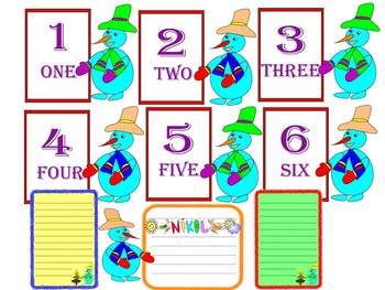 Winter Activities - Math - Flash Cards - Numbers - Snowman