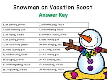 Snowmen on Vacation Progressive Tense Verbs Task Cards with QR Codes