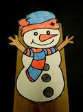 Winter Snowman paper bag puppet pattern