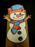 Winter Snowman paper bag puppet pattern
