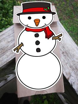 Snowman paper bag puppet template