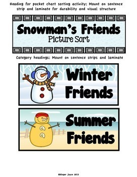Winter Vocabulary Sort-Snowman's Friends