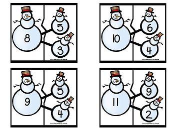 Snowman's Number Bond Puzzles:  LOW PREP Winter Themed Puzzles