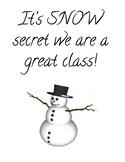 Snowman sign for classroom bulletin board, door or window
