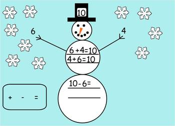 Snowman themed Fact Family interactive smartboard file