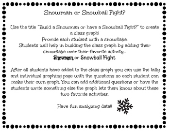Snowman vs Snowball Fight Graphing Activity