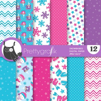 Snowman winter papers, commercial use, scrapbook papers, b