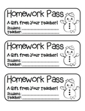"""Snowman with Birds"" Homework Pass –Holiday FUN! (black line version)"
