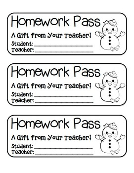 """Snowman with Birds"" Homework Pass –Holiday FUN! (full color & black line)"