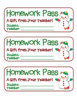 """Snowman with Birds"" Homework Pass –Holiday FUN! (full col"