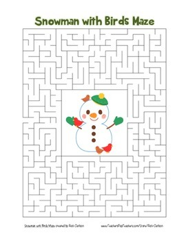 """""""Snowman with Birds"""" Maze! Holiday FUN! (Color and Black Line)"""