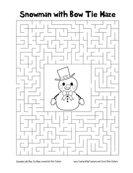 """Snowman with Bow Tie"" Maze! Holiday FUN! (Color and Black Line)"