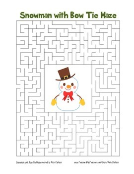 """""""Snowman with Bow Tie"""" Maze! Holiday FUN! (Color and Black Line)"""
