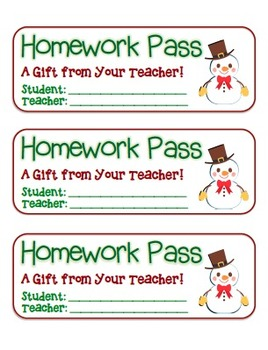 """Snowman with Bowtie"" Homework Pass –Holiday FUN! (full color version)"