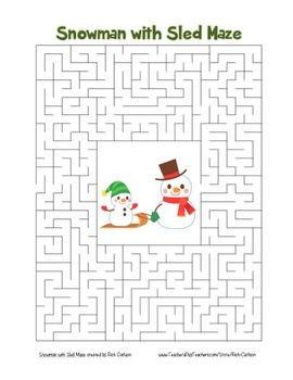 """Snowman with Sled"" Maze! Holiday FUN! (Color and Black Line)"