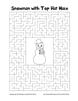"""""""Snowman with Top Hat"""" Maze! Holiday FUN! (Color and Black Line)"""