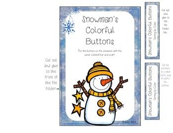 Snowman's Colorful Buttons File Folder Game-Sorting by Color