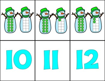 Snowmen Teen Numbers Emergent Reader
