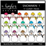 Snowmen 1 Clipart {A Hughes Design}