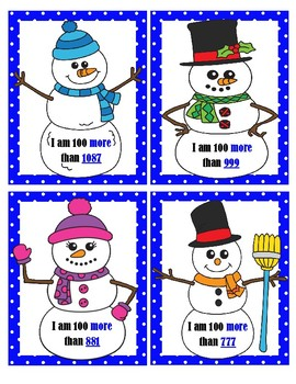 Snowmen - 100 More Than & 100 Less Than