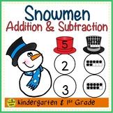 Snowmen 2 Addend Addition & Subtraction With Ten Frames