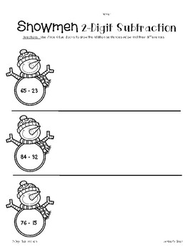 Snowmen 2-Digit Addition and Subtraction with Place Value blocks